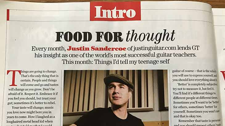 "Justin's Guitar Techniques Magazine Column ""Food For Thought"" since 2015!"
